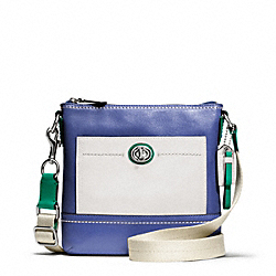 COACH PARK COLORBLOCK LEATHER SWINGPACK - SILVER/FRENCH BLUE MULTI - F49493