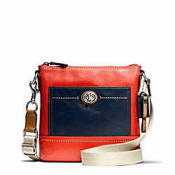 COACH PARK COLORBLOCK LEATHER SWINGPACK - SILVER/VERMILLION MULTICOLOR - F49493