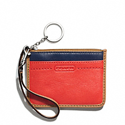 COACH PARK COLORBLOCK LEATHER ID SKINNY - SILVER/VERMILLION MULTICOLOR - F49502