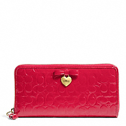 COACH EMBOSSED LIQUID GLOSS ACCORDION ZIP - BRASS/CORAL RED - F49508
