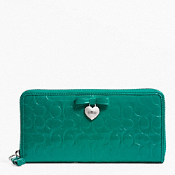 COACH EMBOSSED LIQUID GLOSS ACCORDION ZIP - SILVER/BRIGHT JADE - F49508