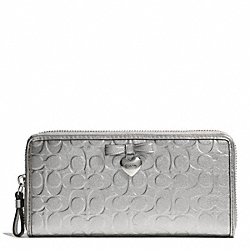 COACH EMBOSSED LIQUID GLOSS ACCORDION ZIP - SILVER/SILVER - F49508