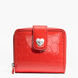 COACH EMBOSSED LIQUID GLOSS SLIM MEDIUM WALLET - SILVER/VERMILLION - F49510