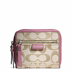 COACH DAISY OUTLINE SIGNATURE METALLIC MEDIUM ZIP AROUND - ONE COLOR - F49515
