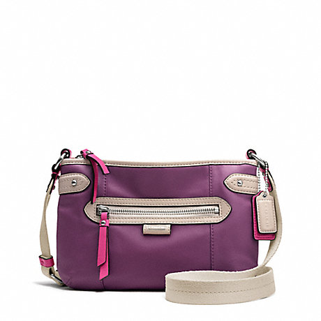 COACH f49516 DAISY SPECTATOR LEATHER SWINGPACK SILVER/PURPLE MULTI
