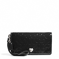 COACH EMBOSSED LIQUID GLOSS DEMI CLUTCH - ONE COLOR - F49540