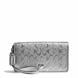 COACH EMBOSSED LIQUID GLOSS DEMI CLUTCH - SILVER/SILVER - F49540