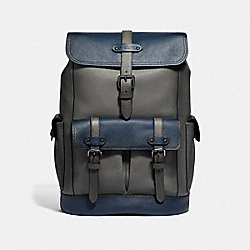 HUDSON BACKPACK IN COLORBLOCK - HEATHER GREY MULTI/BLACK ANTIQUE NICKEL - COACH F49543