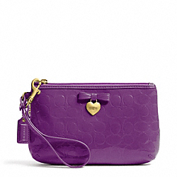 COACH EMBOSSED LIQUID GLOSS MEDIUM WRISTLET - BRASS/IRIS - F49562