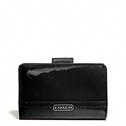 COACH PARK PATENT MEDIUM WALLET - SILVER/BLACK - F49564