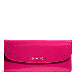 COACH PARK PATENT SOFT WALLET - SILVER/RASPBERRY - F49565