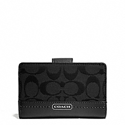 COACH PARK SIGNATURE MEDIUM WALLET - SILVER/BLACK/BLACK - F49582