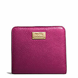 COACH MADISON LEATHER SMALL WALLET - LIGHT GOLD/CRANBERRY - F49587
