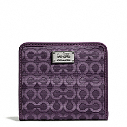 COACH MADISON NEEDLEPOINT OP ART SMALL WALLET - SILVER/BLACK VIOLET - F49589