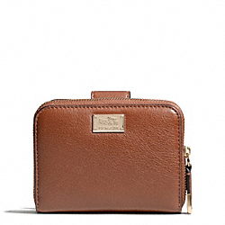 MADISON LEATHER MEDIUM ZIP WALLET AROUND - LIGHT GOLD/CHESTNUT - COACH F49592