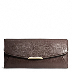 MADISON SLIM ENVELOPE WALLET IN LEATHER - f49595 - LIGHT GOLD/MIDNIGHT OAK