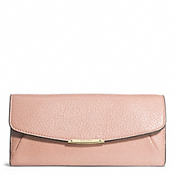 MADISON LEATHER SLIM ENVELOPE WALLET - f49595 - LIGHT GOLD/PEACH ROSE