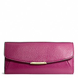 COACH MADISON LEATHER SLIM ENVELOPE WALLET - LIGHT GOLD/CRANBERRY - F49595
