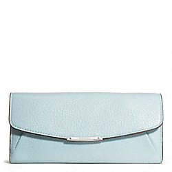 MADISON LEATHER SLIM ENVELOPE WALLET - f49595 - SILVER/SEA MIST