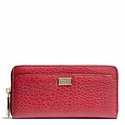 COACH MADISON LEATHER ACCORDION ZIP WALLET - LIGHT GOLD/SCARLET - F49599