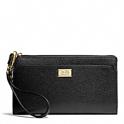 COACH MADISON LEATHER ZIPPY WALLET - LIGHT GOLD/BLACK - F49606