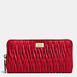 COACH MADISON ACCORDION ZIP WALLET IN GATHERED TWIST LEATHER - IMITATION GOLD/CLASSIC RED - F49609