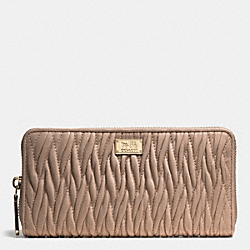 COACH MADISON GATHERED TWIST ACCORDION ZIP WALLET - LIGHT GOLD/STONE - F49609