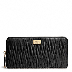 COACH MADISON GATHERED TWIST ACCORDION ZIP WALLET - LIGHT GOLD/BLACK - F49609