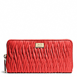 COACH MADISON GATHERED TWIST ACCORDION ZIP WALLET - LIGHT GOLD/LOVE RED - F49609