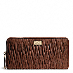 COACH MADISON GATHERED TWIST ACCORDION ZIP WALLET - LIGHT GOLD/CHESTNUT - F49609