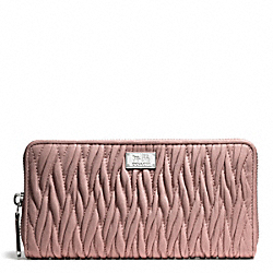 COACH MADISON GATHERED TWIST ACCORDION ZIP WALLET - SILVER/TEAROSE 2 - F49609