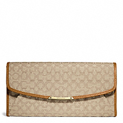 COACH MADISON NEEDLEPOINT OP ART SLIM ENVELOPE WALLET - LIGHT GOLD/KHAKI/BURNT CAMEL - F49611