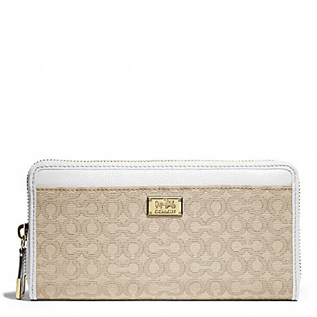 COACH MADISON NEEDLEPOINT OP ART FABRIC ACCORDION WALLET - LIGHT GOLD/LIGHT GOLDGHT KHAKI/WHITE - f49614