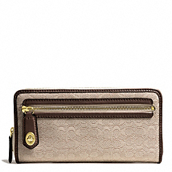 COACH POPPY MINI SIGNATURE C OXFORD ACCORDION ZIP WALLET - BRASS/KHAKI/MAHOGANY - F49619