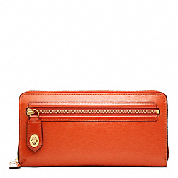 POPPY TEXTURED PATENT LEATHER ACCORDION ZIP WALLET - f49621 - 32140