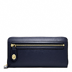 COACH POPPY TEXTURED PATENT ACCORDION ZIP - BRASS/NAVY - F49621
