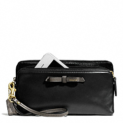 COACH POPPY COLORBLOCK LEATHER DOUBLE ZIP WALLET - BRASS/BLACK - F49623