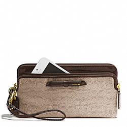 COACH POPPY SIGNATURE C MINI OXFORD DOUBLE ZIP WALLET - BRASS/KHAKI/MAHOGANY - F49626