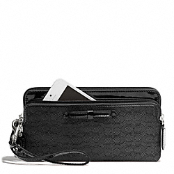 COACH POPPY SIGNATURE C MINI OXFORD DOUBLE ZIP WALLET - SILVER/BLACK/BLACK - F49626