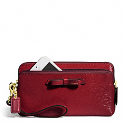 POPPY TEXTURED PATENT LEATHER DOUBLE ZIP WALLET COACH F49631