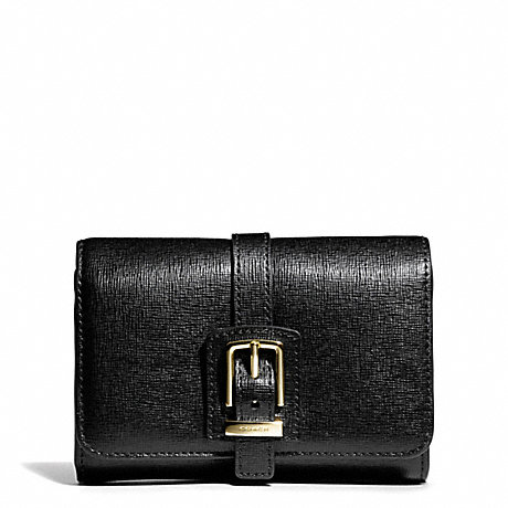 COACH BUCKLE COMPACT CLUTCH IN SAFFIANO LEATHER -  - f49669