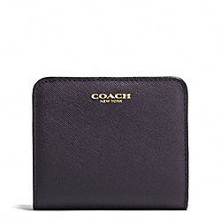 COACH SAFFIANO LEATHER SMALL WALLET - GOLD/ULTRA NAVY - F49671