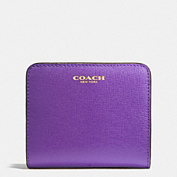 COACH SAFFIANO LEATHER SMALL WALLET - LIGHT GOLD/PURPLE IRIS - F49671