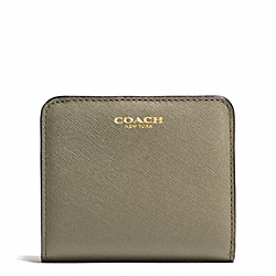 COACH SMALL WALLET IN SAFFIANO LEATHER - LIGHT GOLD/OLIVE GREY - F49671