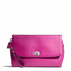 COACH LEATHER FLAP CLUTCH - ONE COLOR - F49693