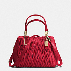 COACH MADISON MINI SATCHEL IN GATHERED TWIST LEATHER - IMITATION GOLD/CLASSIC RED - F49723