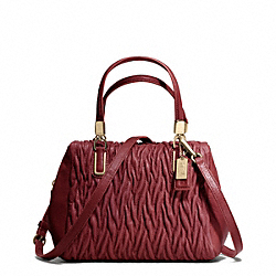 COACH MADISON GATHERED TWIST MINI SATCHEL - Light Gold/BRICK RED - F49723