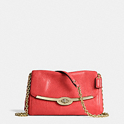 COACH MADISON LEATHER CHAIN CROSSBODY - LIGHT GOLD/LOVE RED - F49738