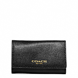 COACH SAFFIANO LEATHER 6 RING KEY CASE - BRASS/BLACK - F49745