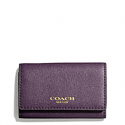 COACH SAFFIANO LEATHER 6 RING KEY CASE - BRASS/BLACK VIOLET - F49745